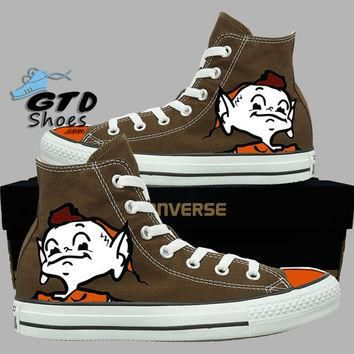 Hand painted Converse Hi. Cleveland Browns, Brownie the elf. Football. Chocolate. Hand