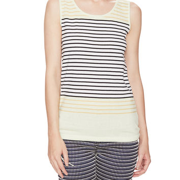See by Chloe Women's Striped Cotton Sleeveless Sweater -