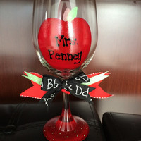 Teachers Appreciation Gift, Apple Wine Glass with Letter Bow