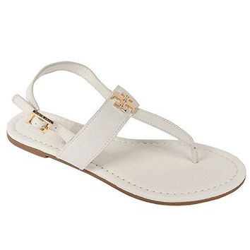 Tory Burch Laura Flat Sandal with Strap Style 36487 Ivory Gold