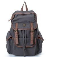 BUG Multi-function Canvas Backpack/ Practical Rucksack /Leisure Rucksack/ Unisex Backpack - (Gray with Brown Trim)