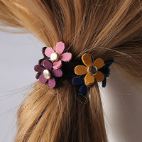 Amazing Gum Women Girl Flower Elastic Hair Band Rope Ring Ponytail Holder Floral Hair Accessories High Quality Rivet Scrunchy