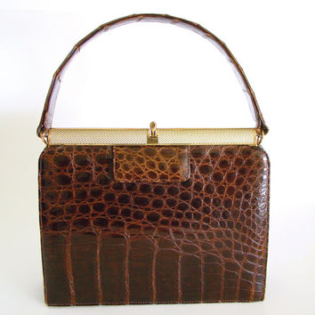 Vintage Milch Purse, Alligator Handbag, Mid Century Purse