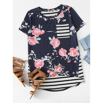 Mixed Print Patch Pocket High Low Tee