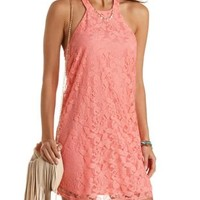 Lace Halter Shift Dress by Charlotte Russe