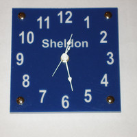 Personalized  color choices clock children's clock wall or desk or  shelf six inch square