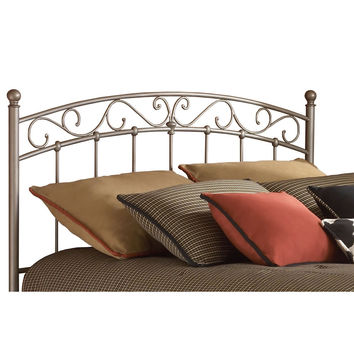 Queen Size Arched Metal Headboard with Scroll Detail & Solid Castings