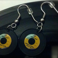 Green Day Fans Miniature Vinyl Record Earrings / When I Come Around