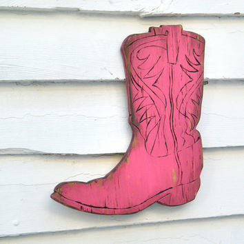 Boot Cowgirl Sign Wooden Cowboy Sign Kids Teen Room Wall Art