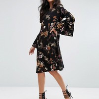 Y.A.S Tall Canto Floral Printed Dress With Bell Sleeve at asos.com