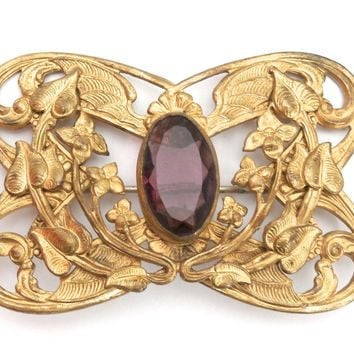 Gorgeous Antique Art Nouveau Gilted Brooch Large Amethyst Stone Center
