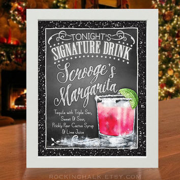 Christmas Signature Drink Sign - Scrooge's Margarita  | Holiday Home Corporate Party | Personalized Gift Idea or Decoration Cocktail Sign