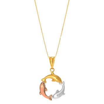 14K Tricolor Rose Yellow And White Gold Three Circling Dolphins Pendant On 18 Inch Necklace
