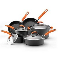 Rachael Ray  Hard-Anodized Cookware 10pc set (orange rubberized handle)