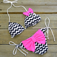 Antigua Beach Bum Black Chevron Pink Bow Bikini