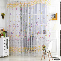 100cm*270cm  Butterfly Tulle Voile Window Curtain Door Room Balcony Sheer Panel Curtain Scarf