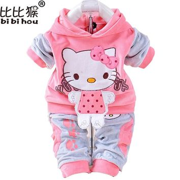 Baby Girls Clothing Set Cartoon Rabbit & Hello Kitty 2017 Winter Autumn Children Clothing Casual Hooded Pants Kids Clothes Girls