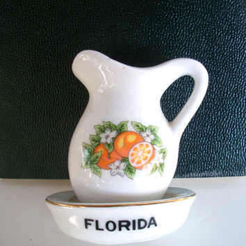 Vintage Mini Pitcher/ Creamer Florida Souvenir 1960s Ceramic 2 And 7/8 Inches Tall