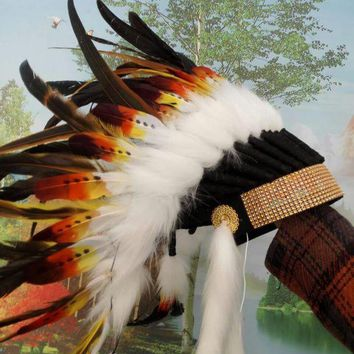 Orange Indian Feather Headdress American Costume Indian Chief Warbonnet Costumes Halloween Party Decor - Beauty Ticks