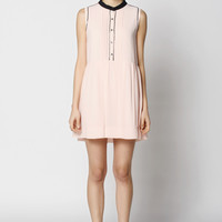 Casual A-Line Button Down Chiffon Mini Skater Dress
