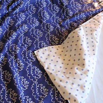 Bedding set. Clouds and stars duvet cover and 2 pillow shams. Blue white bedding
