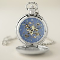 Exotic Art Deco Watercolor Flowers Blue Grey Pocket Watch