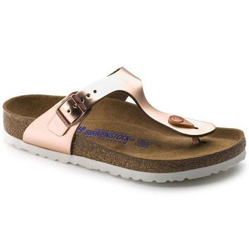 Sale Birkenstock Gizeh Soft Footbed Leather Metallic Copper 1005048 Sandals