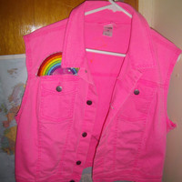 Skittles candy nicki minaj katy perry glow rave hot pink neon vest