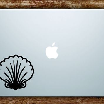 Seashell Laptop Apple Macbook Quote Wall Decal Sticker Art Vinyl Quote Ocean Beach Nautical Shell Fish Cute