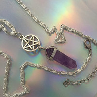 Pentgram and stone pendant necklace