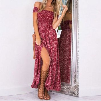 Split Fashion Floral Print Sleeveless Maxi Dress
