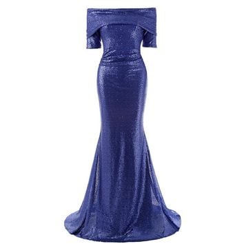 Blue Sequins Mermaid Long Evening Dresses Sleeveless Celebrity Formal Dress Sparkly Evening Gowns Prom Dress