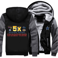 Super Bowl champions Hoodies Fleece  Dallas Cowboys NFL team champions Thick Zipper