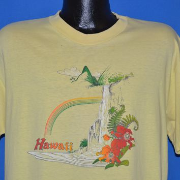 80s Hawaii Rainbow Waterfall Hibiscus t-shirt Extra Large