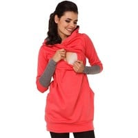 Autumn And Winter Nursing Tops Long Sleeve For Pregnant Women For Breast Feeding Clothes Maternity Women Sport Clothing
