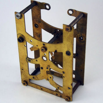 Vintage Clock Front and Back Plates Assembled Old Tarnished Steampunk Parts