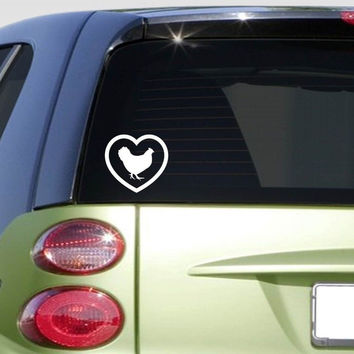 Heart Chicken *F343* sticker decal eggs incubator rooster coop feeder