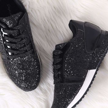 Qupid Low Top Glitter Encrusted Lace Up Sneaker