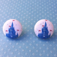 "Handmade ""Diamond Castle"" Disney Inspired Blue 60th Castle Silhouette Fabric Button Earrings"