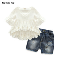 2017 High Quality New Fashion Girls Clothing Kids Clothes Fairy Style Cotton Flounced Sleeves Casual Coat Jeans