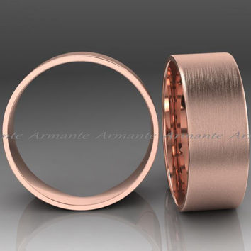 Men's 8.00mm Rose Gold Wedding Band, Hand Made 14k Solid Rose Gold Wedding Band 8.00mm Wide