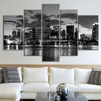 CANVAS ART - Miami Night Skyline Large Wall Art - Black and White Miami City Art Canvas Print