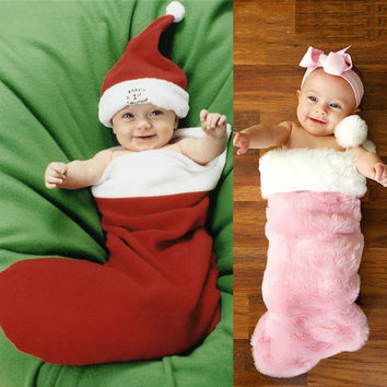 Newborn Baby Christmas Cosplay Costume Infant Santa Claus Clothes Boys Girls Winter Sleeping Bag clothes Halloween Costume