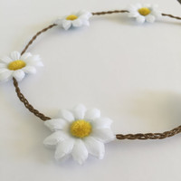 Daisy braided bohemian flower crown hippy headband