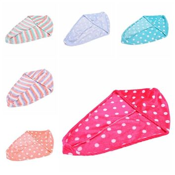 Lady Women Girls Quick Dry Bath Twist Drying Cap Turbie Turban Loop Button Hat Makeup Cosmetic Bathing Tool Hair Wrap Head Towel