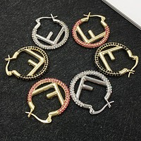 FENDI Fashion Women Creative Full Diamond F Letter Circular Earrings Accessories Jewelry