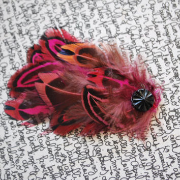 Pink Feather Clip