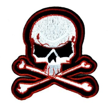 Skull & Crossbones Patch Iron on Applique Punk Rock Clothing
