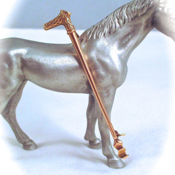 Antique 14k GOLD RIDING CROP Pin 14k Yellow Gold Figural Horse Riding Crop Whip Equestrian Fox Hunt Stock Tie Pin
