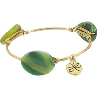 Crystal Wire Bangle Agate Green Stones